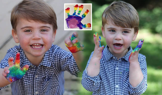 Prince Louis looked adorable as he proudly showed off his rainbow artwork, honouring the NHS