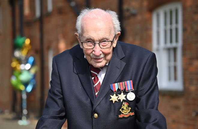 The World War II veteran completed 100 laps of his garden to raise funds for the NHS.