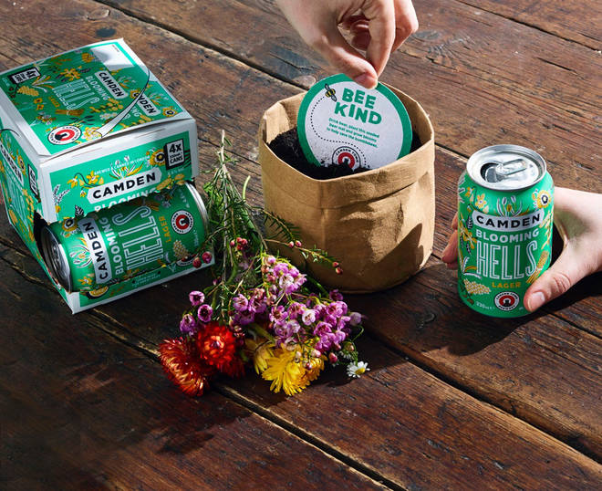 The Blooming Hells Lager comes with a special seeded beermat to plant at home