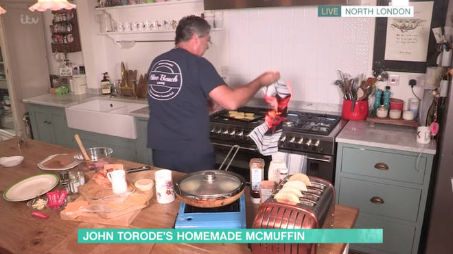 John Torode's cooking segment went from bad to worse when he accidentally started a fire in his kitchen