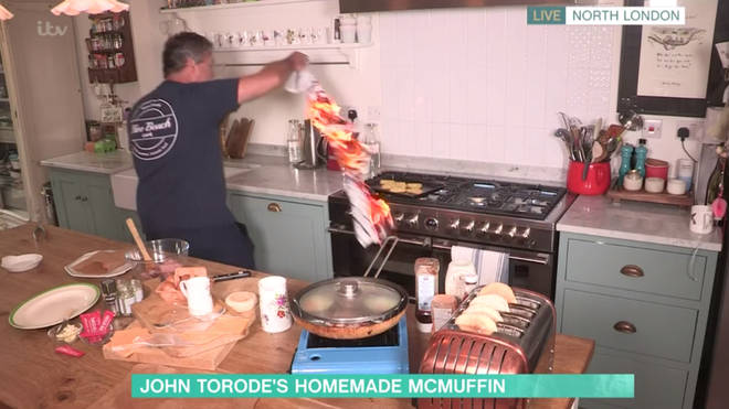 John Torode rushed to put the fire out after Phillip Schofield screamed at him
