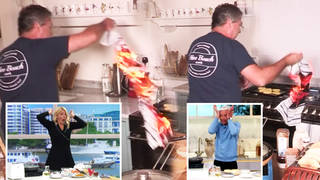 Holly Willoughby and Phillip Schofield were left horrified after a tea towel caught fire in John Torode's kitchen during the live cooking segment