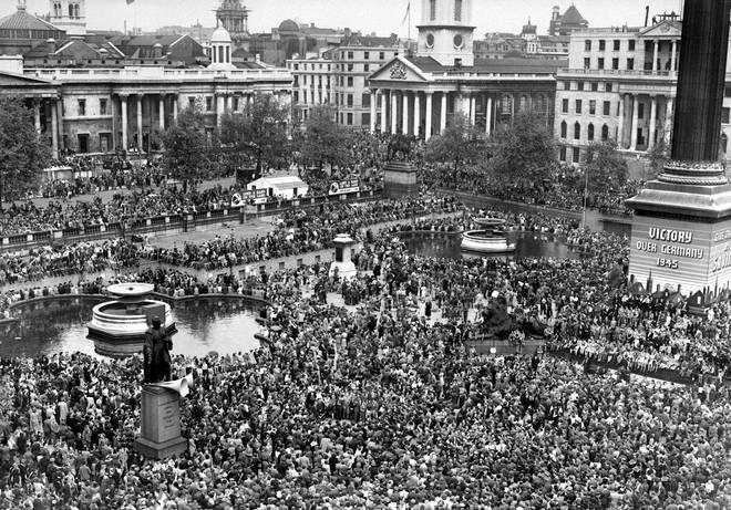 Crowds celebrated VE Day in Trafalgar Square in 1945