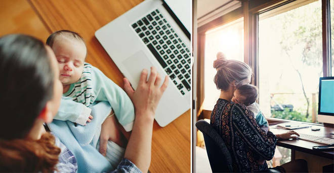 The mum was told to mute herself while breastfeeding during the call (stock image)