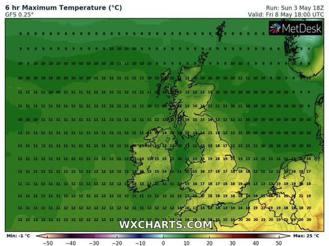High pressure can be seen with higher temperatures in certain parts of the country this weekend