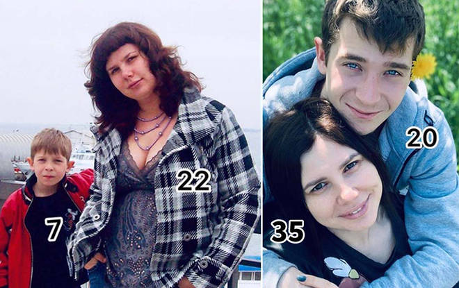 This Popular Internet Celebrity, 35 Years old Russian Stepmom Married to 20 years old Son(Now her Husband) and get pregnant after Splitting from the  Stepson's father(her ex-husband)