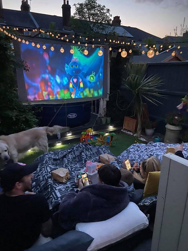 Sara Dacomb created an outside cinema for her kids