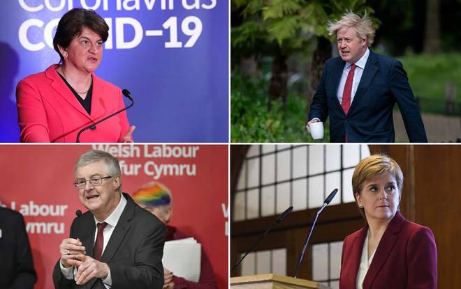 Arlene Foster, Boris Johnson, Mark Drakeford and Nicola Sturgeon
