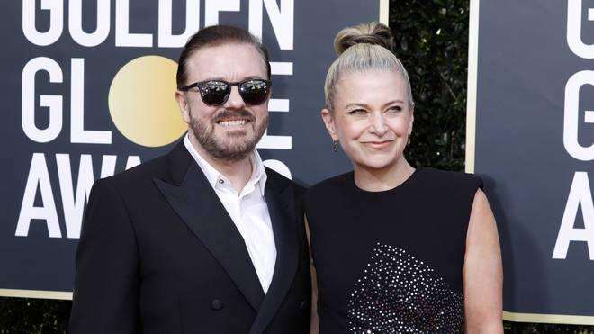 Ricky with his wife Jane Fallon at the Golden Globe Awards