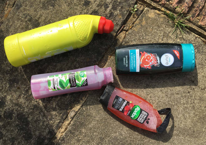Some empty household bottles were good for 'squirting' the dye