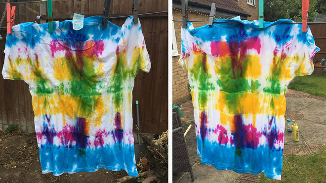 Front view of the T-shirt that was folded and banded