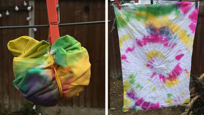This pillow case was rolled in to a tight ball and dyed