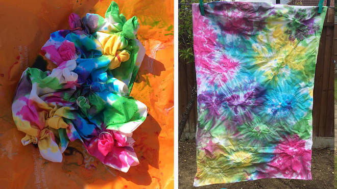 This pillow case had multiple small bunches and then coloured at random