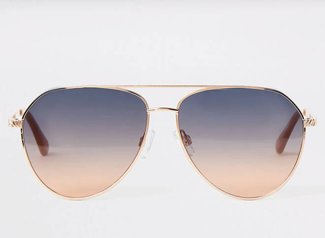 Gold aviator blue lens sunglasses
