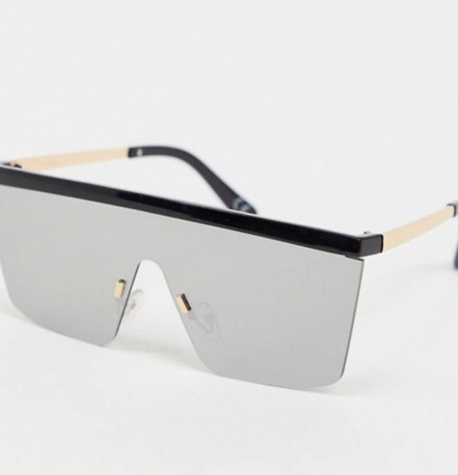 Flatbrow visor sunglasses in black with mirrored lens