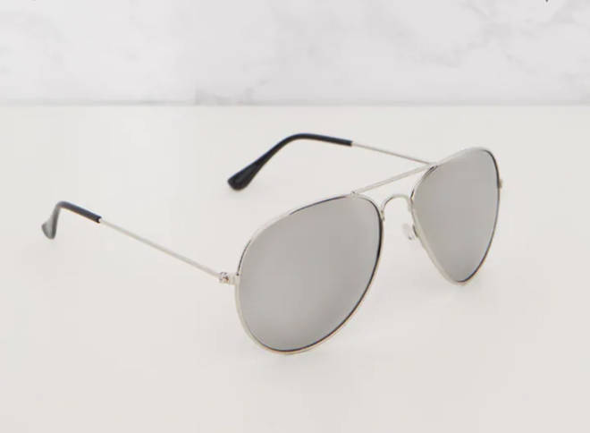 Quinn Silver Mirrored Aviator Sunglasses