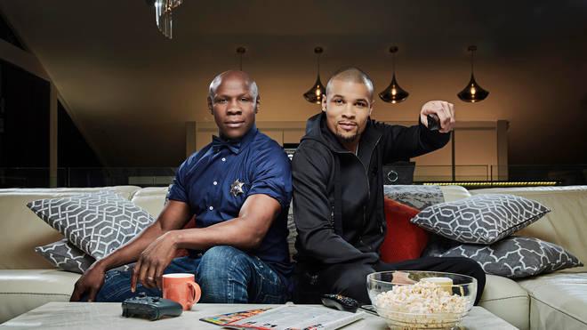 Chris Eubank Sr and his son Chris Eubank Jr on Celebrity Gogglebox