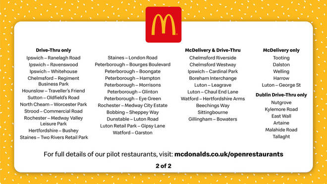 The list published today showing all the re-opening branches