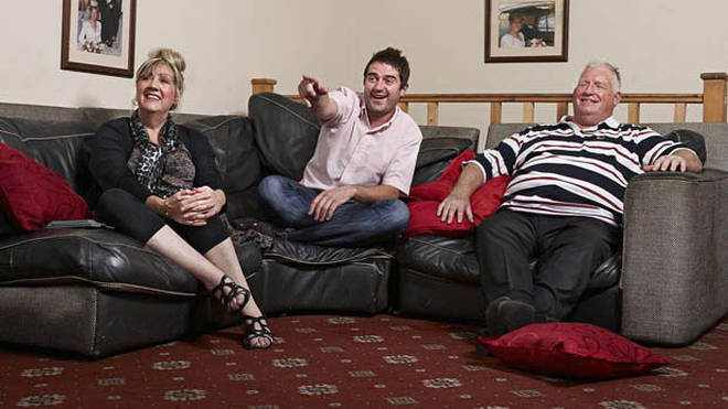 George Gilbey, his mum Linda and step dad Pete McGarry on Gogglebox