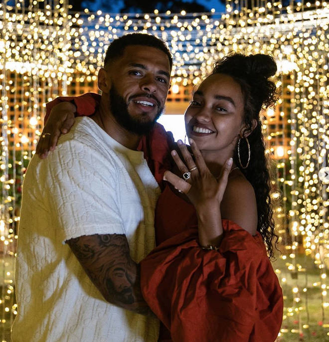 Leigh-Anne showed off her stunning engagement ring