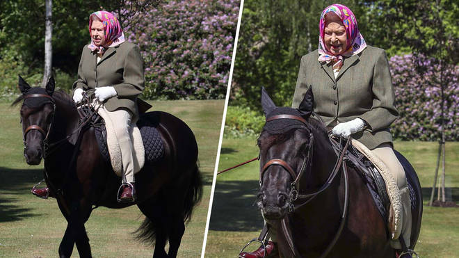 The Queen looked happy and healthy as she enjoyed a ride around Windsor Castle