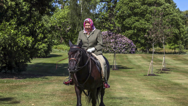 The Queen was pictured enjoying a leisurely tour of Windsor Castle parks on a 14-year-old Fell pony called Balmoral Fern