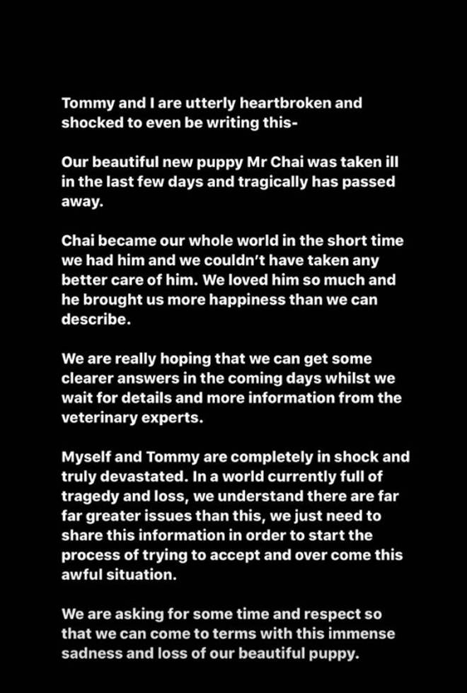 Molly-Mae and Tommy Fury issued a statement following Mr Chai's death