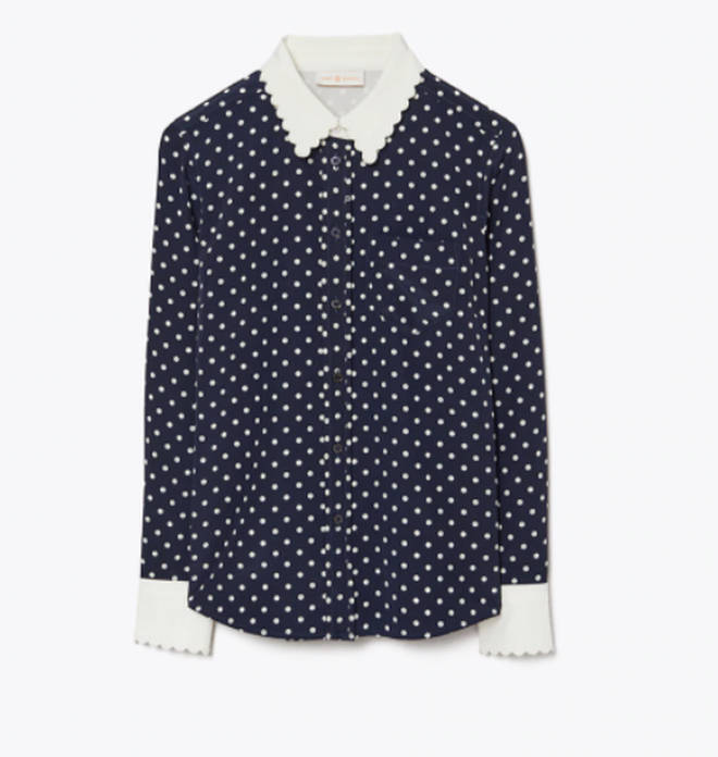 Holly's blouse is from Tory Burch
