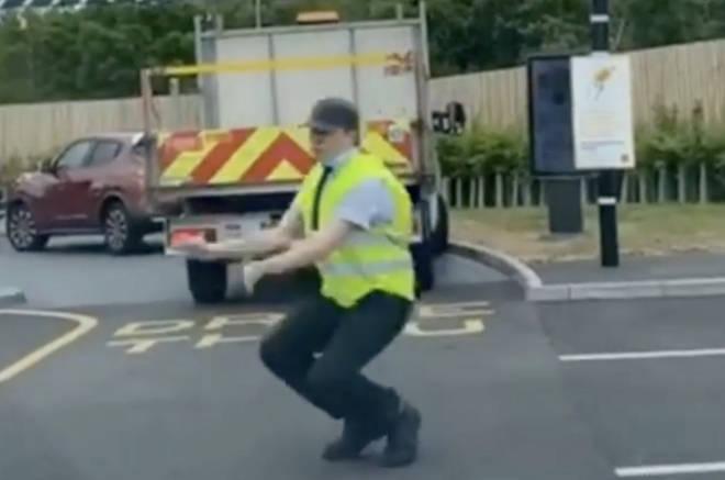Gavyn Brewster dances at McDonalds in Swansea