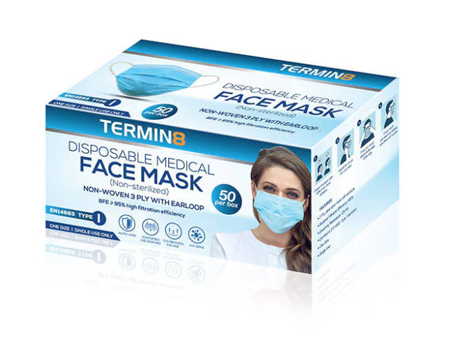 Disposable Medical face Mask (non sterilised) 3 Ply, Pleat Style Mask with Earloops, 50 pack, £29.99