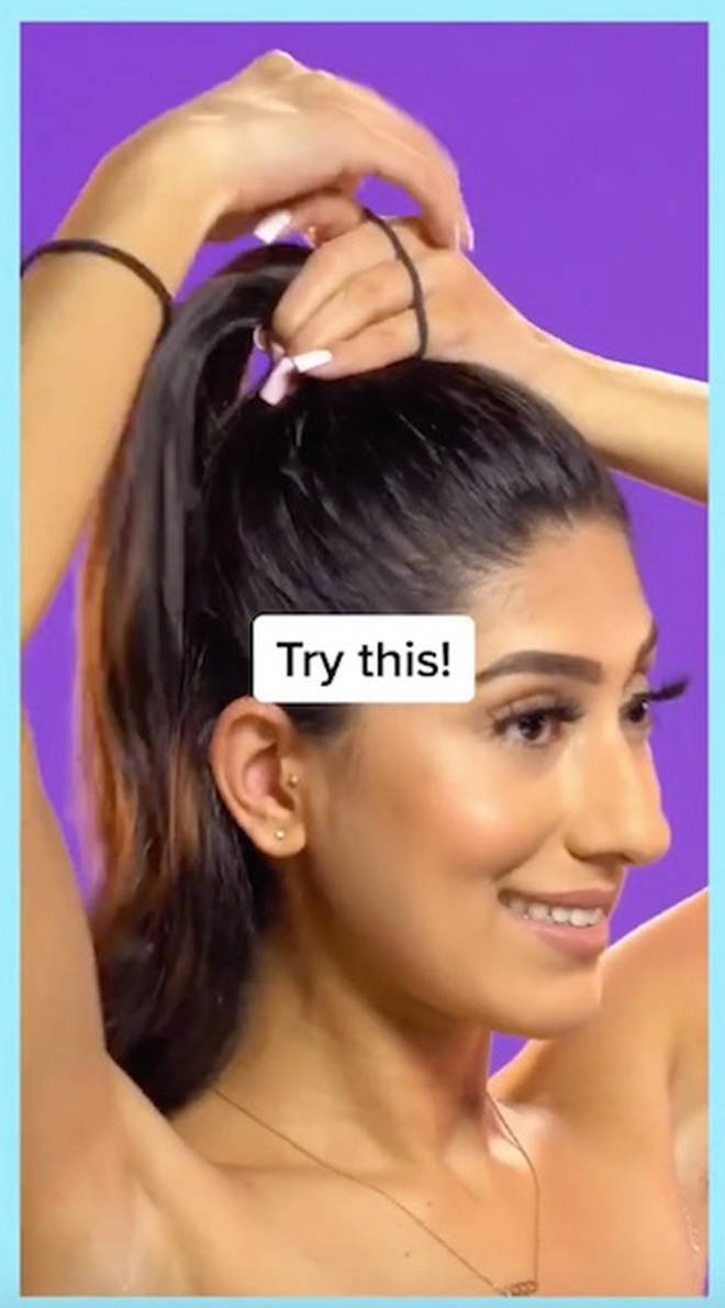 Tie one ponytail right at the top of the head