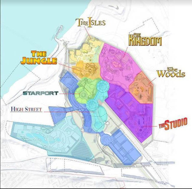 The park will have six areas