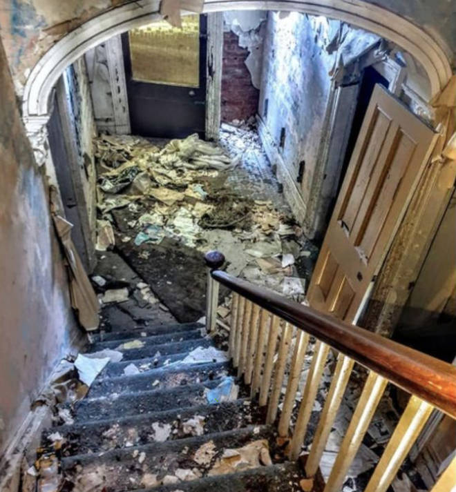 The hallway of the abandoned house