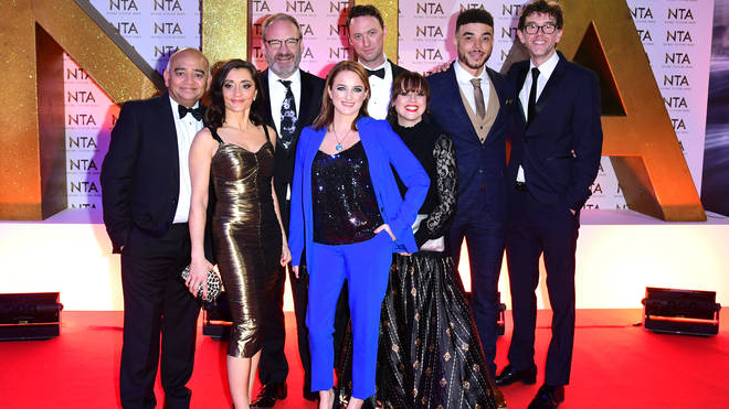 Nicola and her castmates on the red carpet