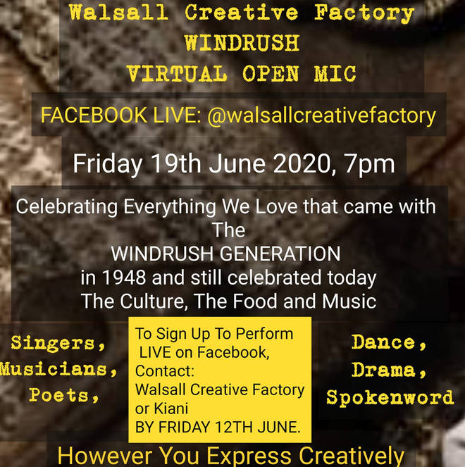 Walsall Creative Factory will be holding a virtual Windrush open mic concert