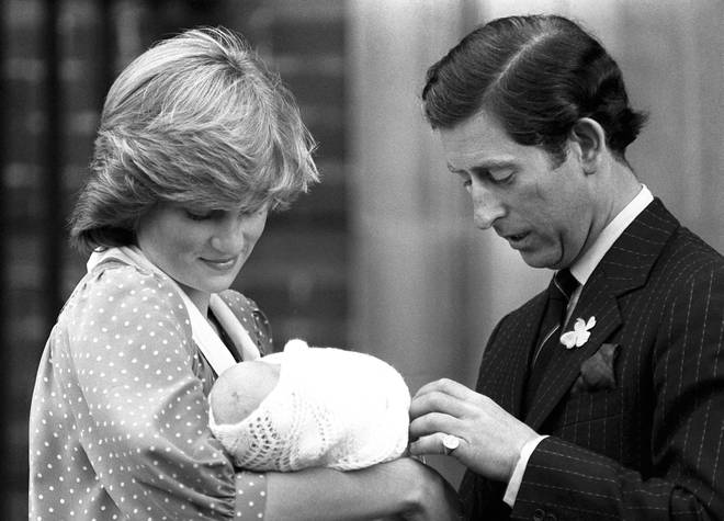 Charles and Diana with baby William in 1982