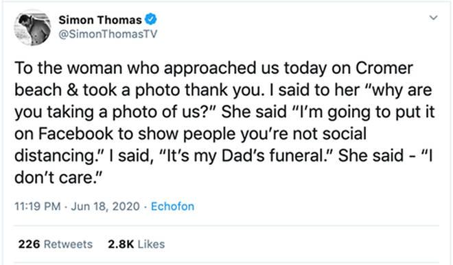 Simon's since-deleted Tweet