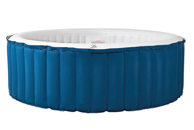 The Mspa Inflatable 4-Person Whirlpool Hot Tub features 118 dynamic air jets, 1,500W heating power, and can reach up to 42 degrees