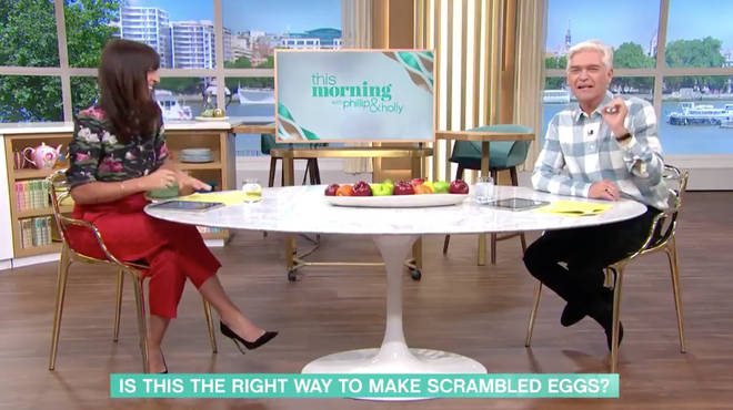 Phillip Schofield could not believe the American mum used whipped cream and sugar to make the 'British scrambled eggs'