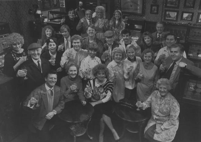 Coronation Street cast in 1987 featuring Barbara Knox