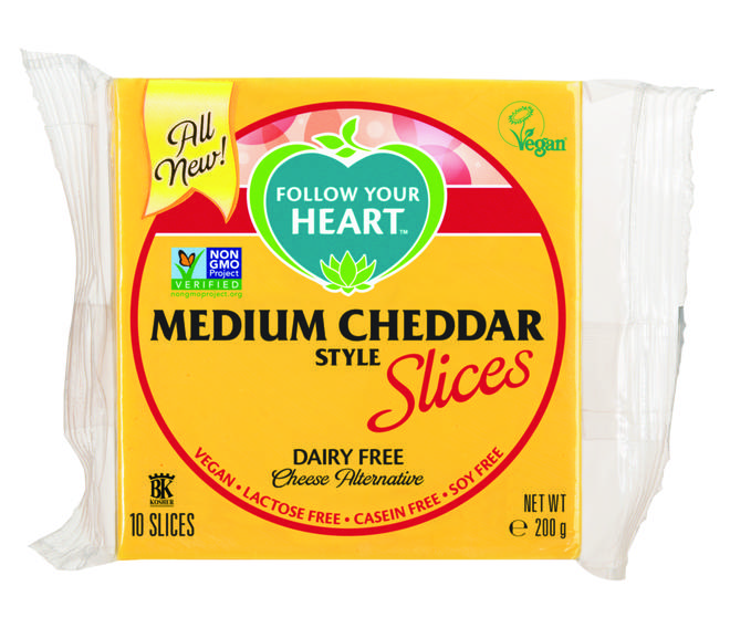 Cheddar cheese slices from Follow Your Heart