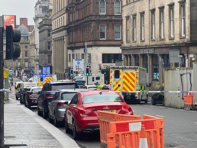 Emergency services attended the scene in Glasgow