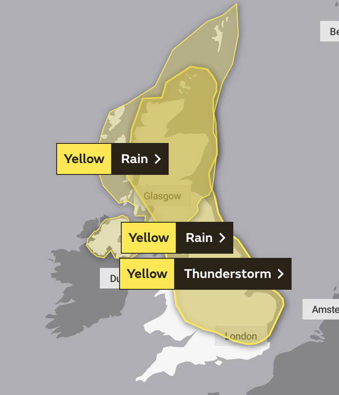 The Met Office's warning for Saturday