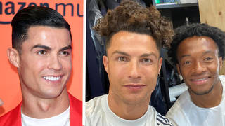 Cristiano Ronaldo as his fans usually know him (left), and showing off his natural hair with a player pal (right)