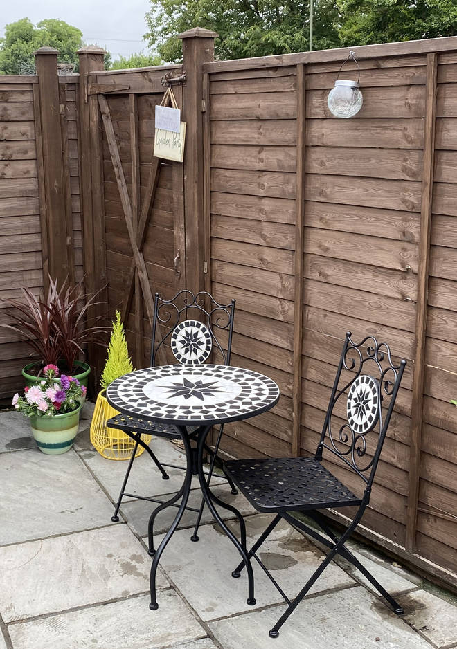 The bistro style dining set is perfect for Fia and her son, or entertaining