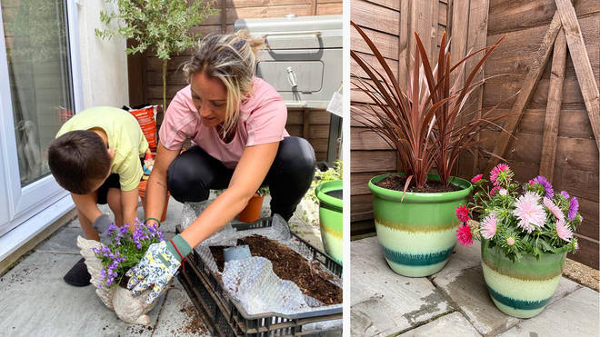 Fia Tarrant and her son get stuck in to a gardening project at home