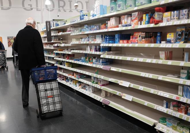 Supermarket shelves were emptied back in March