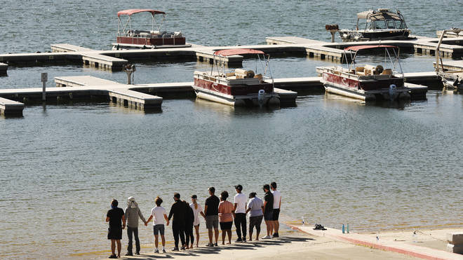The cast of Glee gathered at the lake where Naya Rivera died