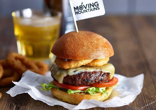 The Moving Mountains burger looks just like a meaty beef burger