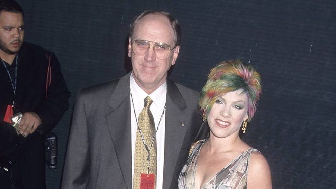 Pink with her dad at the Billboard Music Awards in 2000